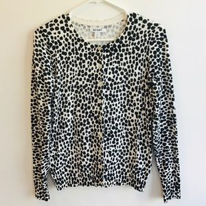 OLD NAVY black and white leopard cardigan S